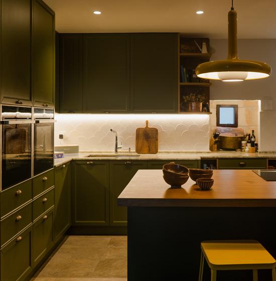 Cocina verde vintage